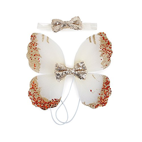 Stock Show Pet Dog Beautiful Blingbling Butterfly Wing Harness and Flower Headdress Pet Dog Princess Sweet Harness Ornament Dog Puppy Flower Bowtie Hair Accessories for Small Medium Dogs, (Fairy Princess Pet Halloween Costume)