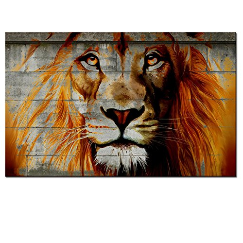 Unique Lion Graffiti On Wall,Framed African Lion Painting Prints on Canvas,Framed on Wood Bars,Lion Poster Prints for Home Wall Decor,Attractive Animal Wall Decoration - Lion Wood Print