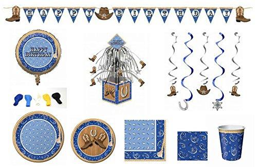 Blue Bandana Cowboy Themed Party Dinnerware/Decorations Combo Pack 10-Piece Bundle, Serves 8 (Plates/Napkins/Cups/Decorations)