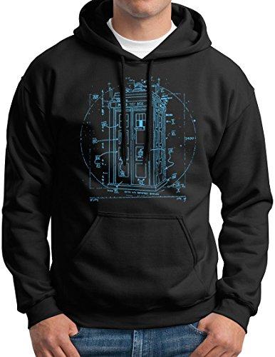 New York Fashion Police Police Box Hooded Sweatshirt Vitruvian Da Vinci Style Doctor Crewneck Black L (Tardis Sweatshirt)