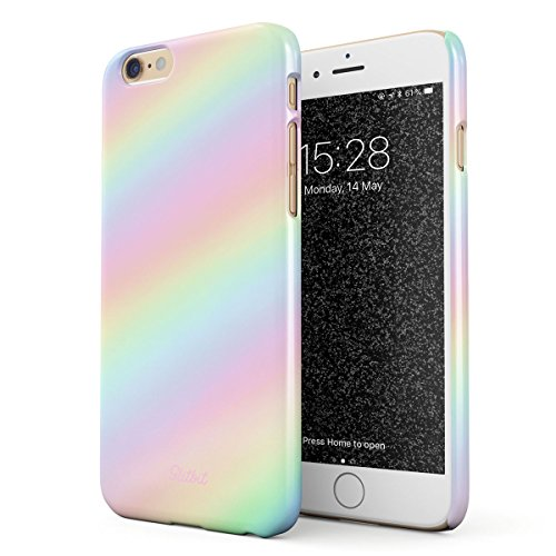 Glitbit Compatible with iPhone 6 Plus / 6s Plus Case Pastel Rainbow Unicorn Colors Ombre Pattern Holographic Tie Dye Pale Kawaii Aesthetic Thin Design Durable Hard Shell Plastic Protective Case - Iphone Ombre Case 6 Color