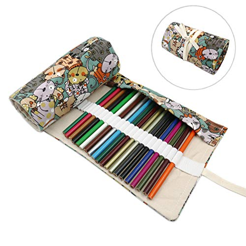 36/72 Slots Colored Pencils Roll Wrap Bag Pouch Portable Pencils Holder Pen Organizer for Artists Students Painters (Kitten, 72-Slot)