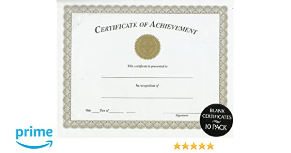 Amazon.com : CERTIFICATE OF ACHIEVEMENT BLANK 10 PACK : Office Products