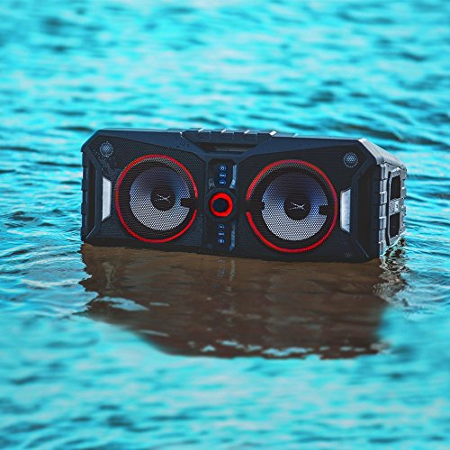 Altec Lansing ALP-XP800 Xpedition 8 Portable Waterproof Wireless Bluetooth Indoor or Outdoor Speaker with Multi-Colored LED Light Show, Stereo Pairing, Everything Proof