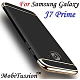 MOBITUSSION Smart 3-in-1 Back Cover for Samsung J7 Prime(Black with Gold)