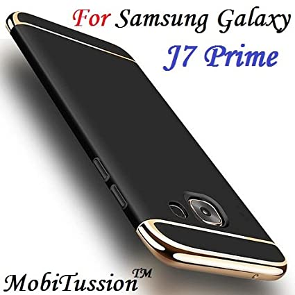 wholesale dealer 0fd1c fe455 for Samsung Galaxy J7 Prime Cover {MobiTussion Luxury Smart 3in1 Back Cover  case for Samsung J7 Prime Back Cover case (Black with Gold)
