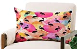 Deny Designs Hello Sayang Oblong Throw Pillow, Dance Like a Flamingo