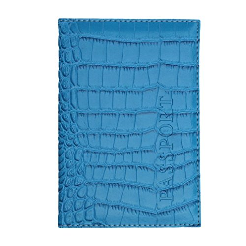 (YJYDADA Card Pocket,Passport Holder Protector Wallet Business Card Soft Passport Cover Leather (Sky Blue) )