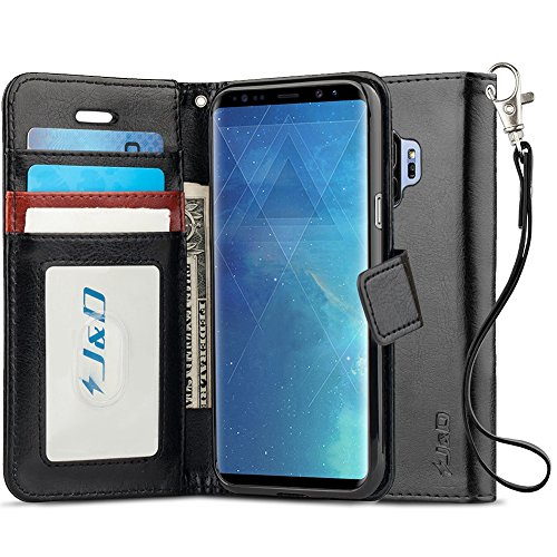 J&D Case Compatible for Galaxy S9 Case, [RFID Blocking Wallet] [Slim Fit] Heavy Duty Shock Resistant Flip Cover Wallet Case for Samsung Galaxy S9 Wallet Case - [Not for Galaxy S9 Plus] - Black (Cheese Phone Case)