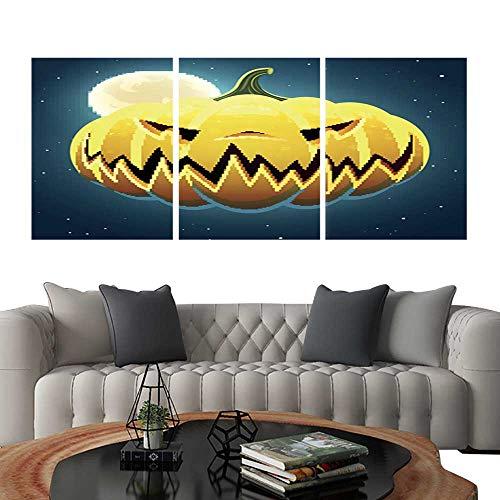 (UHOO Triptych Art SetVector Scary Halloween Pumpkin3. Modern Wall Art for Living Room Decoration)