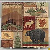 HONGYUDE Rustic Lodge Bear Moose 6072 Inch Bathroom Shower Curtain Set Waterproof Mold and Mildew Resistant Bath Curtain Fabric Polyester for Bathroom Decoration