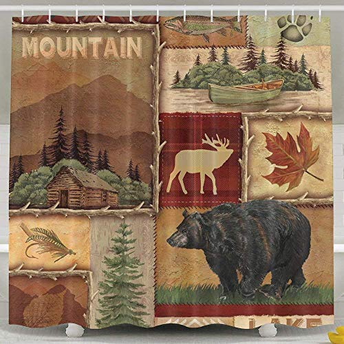 HONGYUDE Rustic Lodge Bear Moose 6072 Inch Bathroom Shower Curtain Set Waterproof Mold and Mildew Resistant Bath Curtain Fabric Polyester for Bathroom Decoration (Shower Liner For Clawfoot Tub)