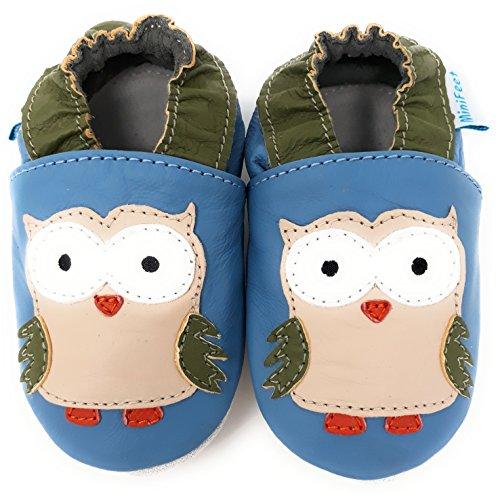 MiniFeet Premium Weich Leder Babyschuhe - Verschiedene Stile - Jungen und Mädchen Babyschuhe - Neugeborene bis 3-4 Jahre Blau Eule