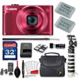 Canon PowerShot SX620 HS 20.2MP 25X Optical Zoom Digital Camera Kit (Red) + 32GB High Speed Memory Card + Extra Battery + Professional Accessory Bundle