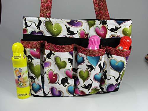 Bingo Cats Handmade Fabric Purse Bag Tote Craft Organizer Teacher Tote Nurse Tote with Black from Bonnie Adcox Creations