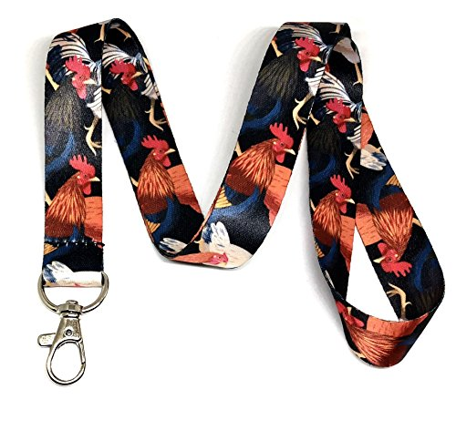 Chicken Cars Farm - Chickens & Roosters Print Lanyard Key Chain Id Badge Holder