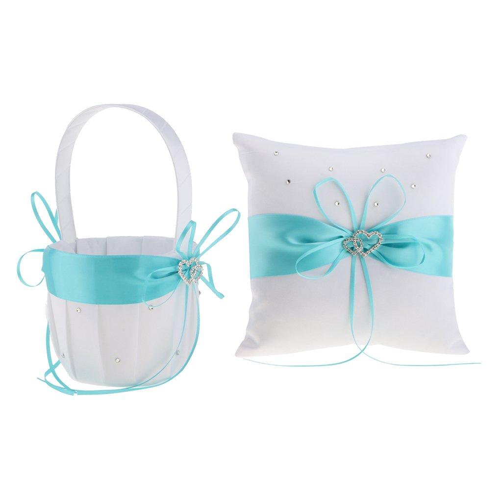 Baoblaze Pieces of 2 Wedding Reception Satin Hearts Flower Girl Basket Ring Bearer Set