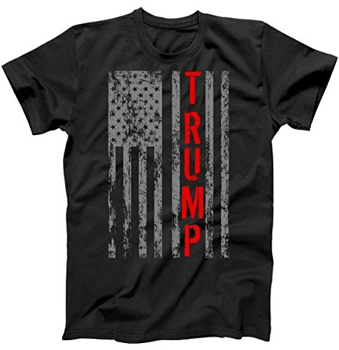 TeeShirtPalace Donald Trump President Vintage USA Vintage Flag T-Shirt Black 5XL ()