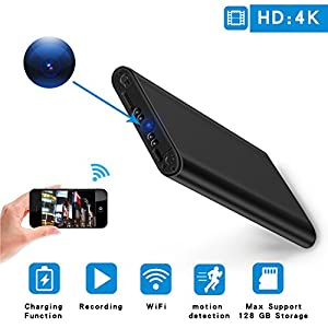 HD 4K Hidden Spy Camera Mini WiFi Home Security Cam Motion Detection Remote Live Video Portable 10000mAh Power Bank for Home, Office, Car