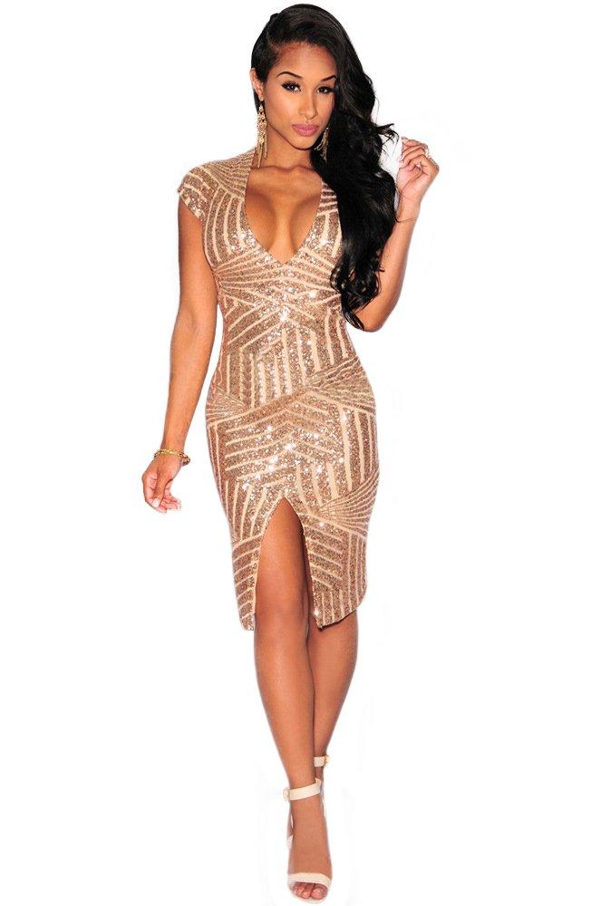 Kearia Women Short Sleeve Deep V-Neck Sequin Split Bodycon Cocktail Party Dress Rose Gold Large(US M)