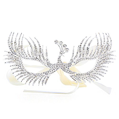 Zebratown Metal Rhinestone Masquerade Ribbon Mask Halloween Mardi Gras Prom Party Mask