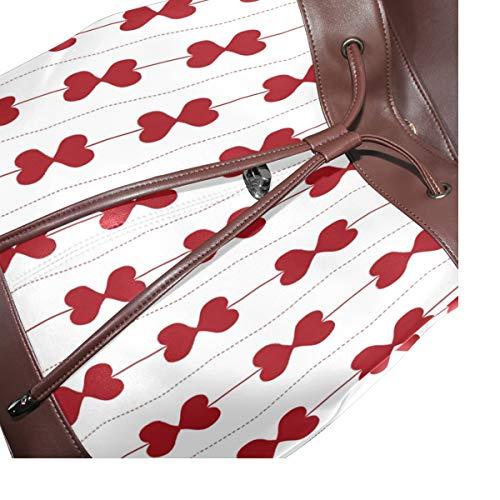 Kvinnor PU-läder kärlek hjärtan St Valentin ryggsäck handväska resa skola axelväska ledig dagväska