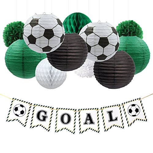 NICROLANDEE Soccer Party Decorations Package Goal Party Banner Hanging Paper Lantern Tissue Flowers Pom Poms Honeycomb Ball for World Cup Soccer Sports Themed Birthday Party Decor Kit ()