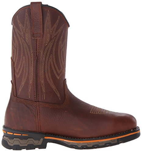 Timberland Pro Mens AG Boss Alloy Safety-Toe Pull-On Boot Red Brown Full Grain Leather