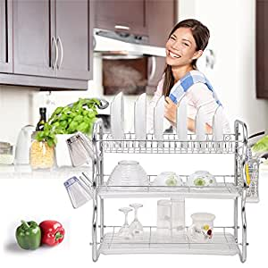 Three-tiers Dish Rack Stainless Steel Drip Bowls Tray Cutlery Holder Organizer (Chromeplated, Silver, Easy to Assemble)