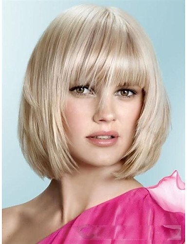 liap-Beauty Wigs New arrivals Medium Bob Short Haircuts about 8Inches Blonde Perfect Synthetic Hair (Harley Quinn Costume Commission)