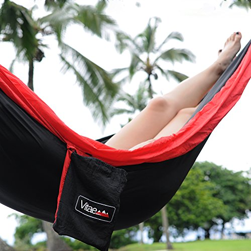 Hammock – Vitae Explore DuoSwing Double Hammock (Black/Red) w/Straps – Functional and Durable 2-Person Nylon Portable Camping Hammock Perfect for Any Hiking, Camping, or Beach Day Adventure
