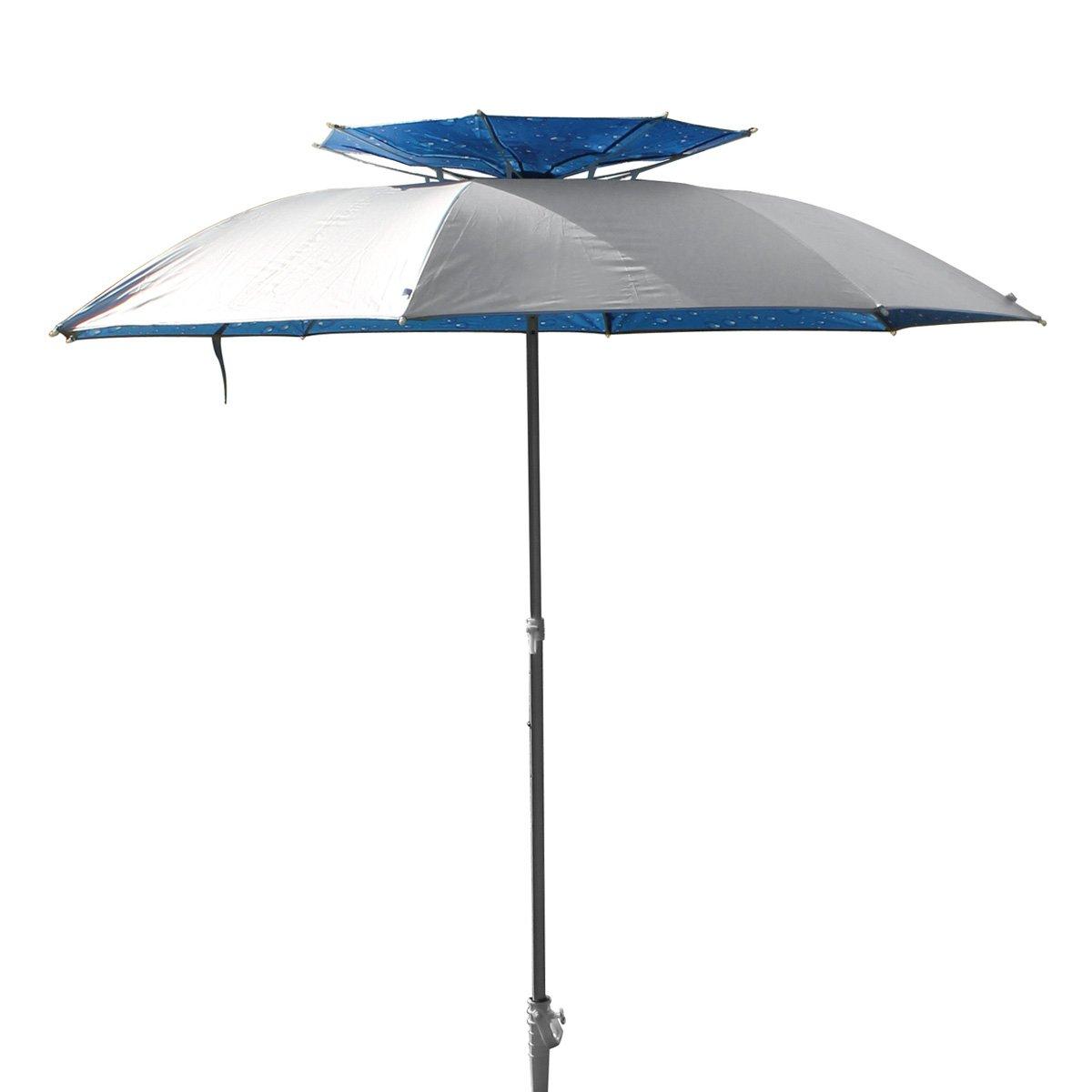 Sombrilla XXL, 190 cm de diámetro, con soporte y espiga de tornillo, de fibra de carbono, pongee y aluminio, protección UV de 30, para playa, tierra, ...
