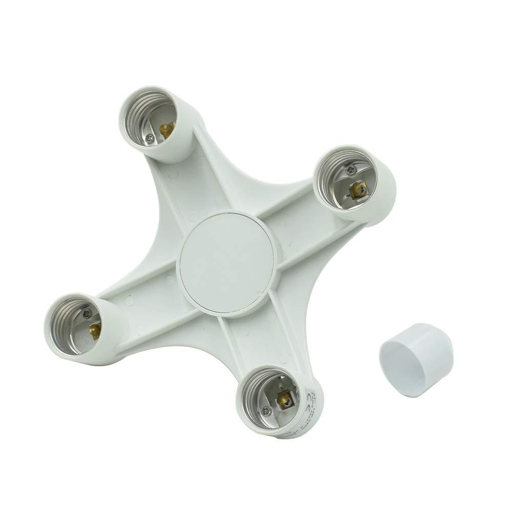 HONJIE 4 in 1 Light Socket Splitter E26 E27 Adapter Converter 4 way Light Splitter Converter for Standard Light Bulbs for Home Office 1 Pc