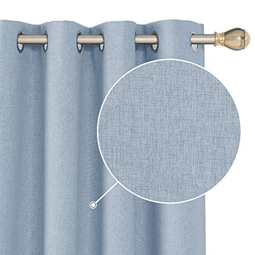 Deconovo Faux Linen 100% Blackout Curtains Grommet Room Darkening Thermal Insulated Noise Reducing Draperies for Patio Door Turquoise 52x84 Inch 2 Panels (Patio Draperies For Doors)