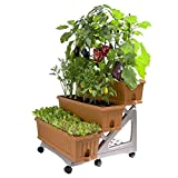 3-TIER PORTABLE GARDEN PLANTER KIT by Bama, With Storage Compartment, Ideal For Creating A Beautiful Garden In Your Backyard, Patio Or Deck with Easy Watering, 31.5x29x28.7 Inches (Terracotta) For Sale