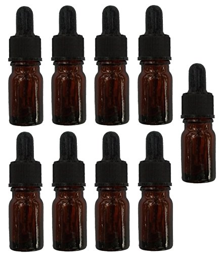 Best Essential Oil Amber Glass Sample Vials-5ml (1/6 fl oz) bottles w/Glass dropper/Plastic Screw Cap/Silicon bulb – Small Glassware – Oil Mixing/Easy to Get one drop, Great Labware Jars, Pharmaceuticals, Pill Storage, & For Travel – Perfume Samplers, Diabetic Uses, Many uses for Leak Proof Storage – High Quality BPA free Glass – Best Money Back Guarantee – No Questions asked