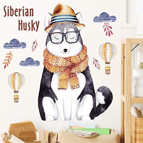 ZYBKOG Wall Sticker Cartoon Siberian Husky Wall Stickers Pvc Diy Animal Wall Art For Kids Rooms Bedroom Kindergarten Glass Decoration ()