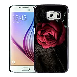 High Quality Samsung Galaxy S6 Skin Case ,Red Rose on Wood Black Samsung Galaxy S6 Screen Cover Case Popular And Unique Custom Designed Phone Case