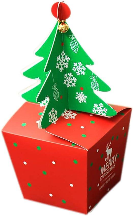 Qinlee Navidad Candy Box Árbol de Navidad Estilo Plegable Papel ...