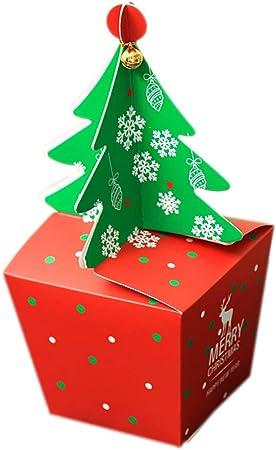 Qinlee Navidad Candy Box Árbol de Navidad Estilo Plegable Papel Caja de Regalo Caramelos de buzón Galletas Manzana Embalaje Caja Decoración para Festival Xmas Party: Amazon.es: Hogar