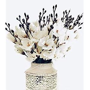 Mr Go Shop 4pcs Artificial Flower Artificial Azalea Fake Faux Primroses Bouquet Arrangements Home Garden Table Patio Wedding Party Christmas Decoration (17.7 inch)(NO VASE) 15