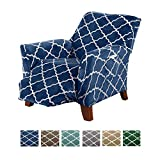 Great Bay Home Modern Velvet Plush Strapless Slipcover. Form Fit Stretch, Stylish Furniture Shield/Protector. Magnolia Collection Strapless Slipcover Brand. (Recliner, Navy)