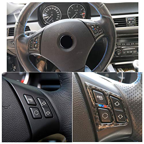 ABS Carbon Fiber Style Steering Wheel Button Cover Trim for BMW 3 Series E90 2005-2012 style 1 ()