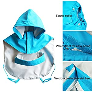 Dog Raincoat - Pawow Two-layer Fashion Pet Rainy Days Slicker with Hat for Big Dogs Golden Retriever Husky Samoye Pit Bull Doberman Pinscher Shepherd Dog Labrador Staffordshire Rottweiler Akita