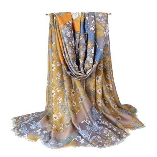 GERINLY Womens Scarves: Blumarine Floral Pattern Soft Wrap Scarf (Turmeric) (Scarf Soft Floral)