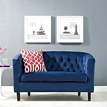 Prime Modway Prospect Velvet Upholstered Contemporary Modern Loveseat In Navy Ncnpc Chair Design For Home Ncnpcorg