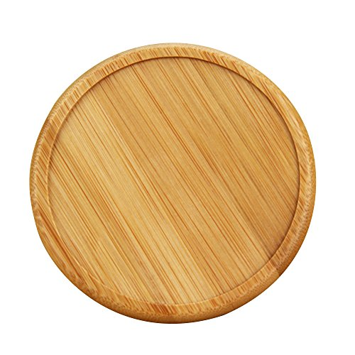 Ieasycan Retro Wood Coaster Set with 6 Round Handmade Table Coasters and Decorative Wooden Holder for Tea Cups Coffee Mugs Beer Cans Bar Tumblers - Rack Coaster