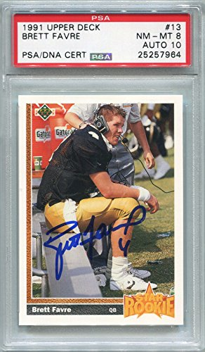 Brett Favre Rookie Atlanta Falcons/Green Bay Packers PSA/DNA Certified Authentic Autograph - 1991 Upper Deck (Autographed Football Cards)