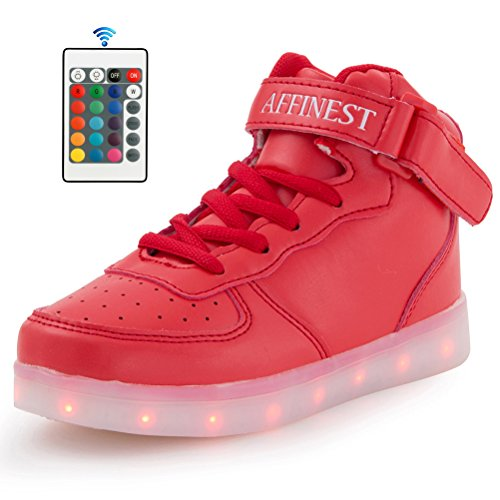 Affinest Led Lumière Chaussures Pour Hommes Femmes Haut Haut Usb Charge 16 Couleurs Clignotant Mode Sneakers Avec Application De Contrôle Garçons Filles Rouge