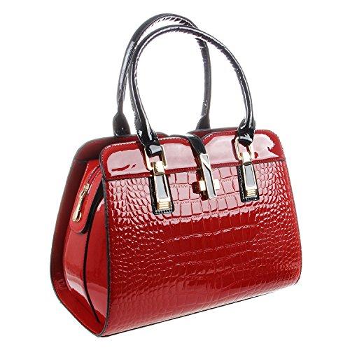 SODIAL Bolso de trabajo de OL de moda para mujer Bolso casual de negocios Bolso de mujer salvaje Bolsa de mensajero movil de estilo de Europeo y americano Blanco Rojo